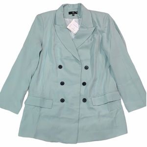 NWT MISSGUIDED MINT GREEN LONG BLAZER SIZE 12